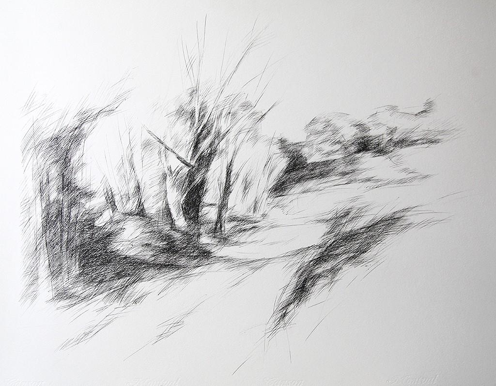 Le chemin montant, Dominique Barrot, Mazan, 2000, Encre