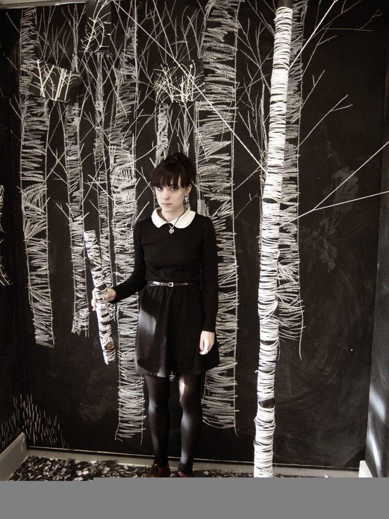 Zoé Landry, installation bois et laine